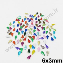 Clou thermocollant goutte - MULTICOLORE - 6x3mm - x 100 pcs