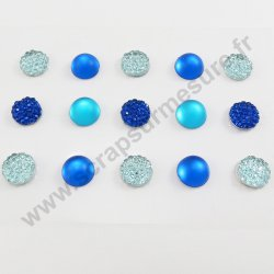 Strass autocollants ronds - BLEU - 10mm - x 15 strass