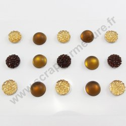 Strass autocollants ronds - MARRON - 10mm - x 15 strass