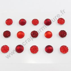 Strass autocollants ronds - ROUGE - 10mm - x 15 strass