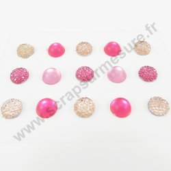 Strass autocollants ronds - ROSE- 10mm - x 15 strass