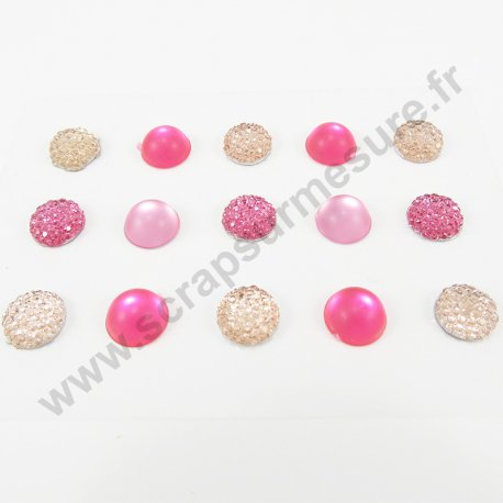 Strass autocollants ronds - ROSE - 10mm - x 15 strass
